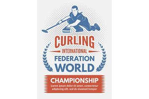 Sport poster design template with illustration of curling game