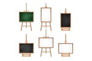 Different colored blank boards standing on easels. Vector pictures isolate on white