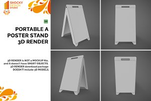 Portable A Poster Stand 3D Render