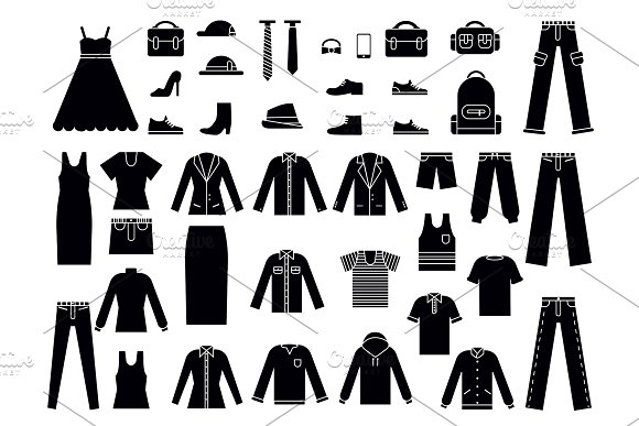 Monochrome Illustrations Of Clothes For Male And Female