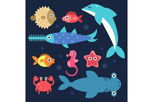 Fishes and others underwater animals. Stylized flat illustrations