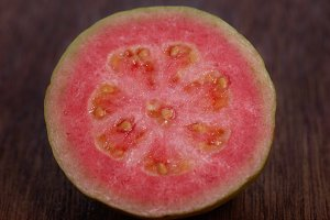 half of ripe, fresh guava