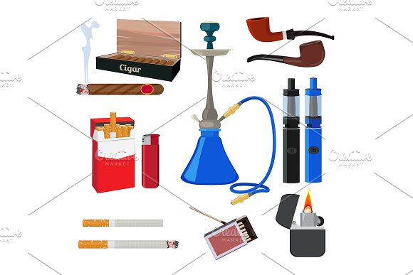 Hookah Tobacco Cigarette And Other Different Tools For Smokers