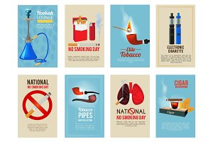 Different vector cards with illustrations of various tools for smokers