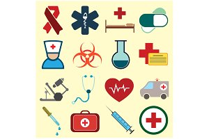 Set of medical colored icons vector