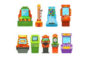Game machines. Vector pictures in cartoon style