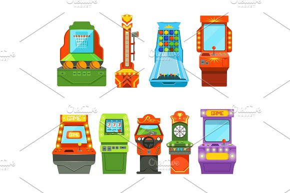 Game Machines Vector Pictures In Cartoon Style