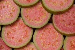 Slices of pink guava