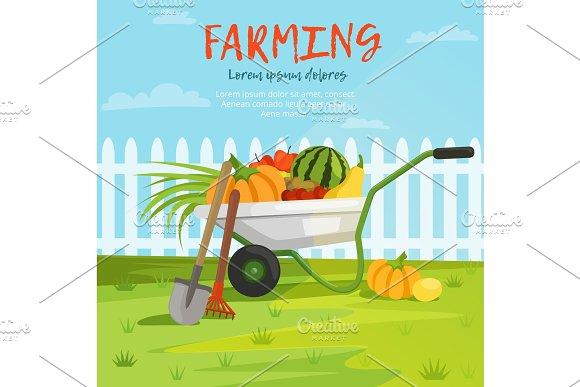 Cartoon Background Illustration Of Wheelbarrow With Vegetables