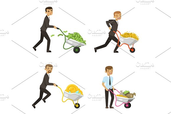 Businessmen Driving A Wheelbarrow With Money