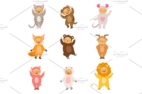 Kids Party Costumes Of Funny Cartoon Animals Vector Pictures Isolate On White