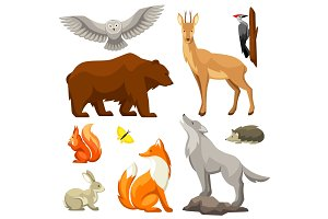 Set of woodland forest animals and birds. Stylized illustration