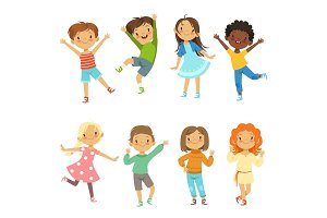 Childrens playing. Vector funny characters isolate on white