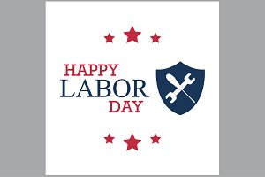 happy labor day with shield