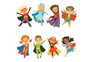 Kids in superhero costumes. Funny characters isolate on white background