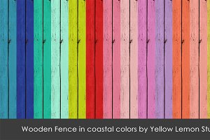 Painted wooden fence bright colors