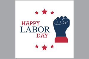 happy labor day with a fist