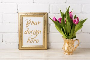 Golden frame mockup with magenta