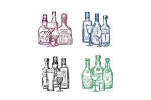 Vector set of hand drawn alcohol drink bottles and glasses piles illustration