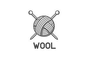 Wool emblem with with ball of yarn and knitting needles. Label for hand made, knitting or tailor shop
