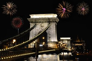Szechenyi Chain bridge with firework