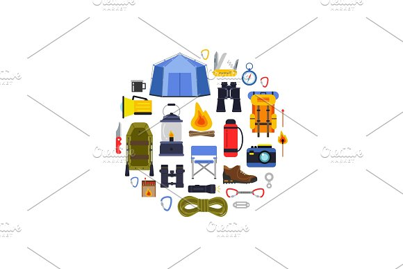 Vector Flat Style Camping Elements Gathered In Circle Illustration