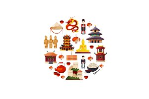 Vector flat style china elements and sights gathered in circle illustration