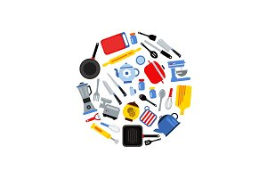 Vector flat style kitchen utensils gathered in circle illustration