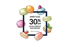 Vector frame with flying hand drawn macaroons around it with place for text in center illustration