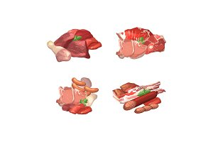 Vector set of cartoon meat elements piles illustration