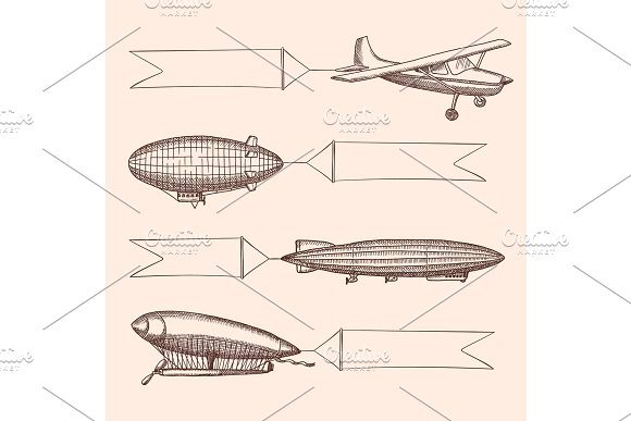 Vector Set Of Steampunk Hand Drawn Vintage Dirigibles And Airplane With Hanging Wide Ribbons For Text