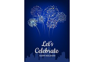 Vector fireworks above city silhouette background illustration with place for text