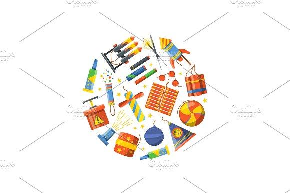 Vector Cartoon Pyrotechnics Gathered In Circle Illustration
