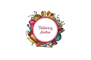 Vector hand drawn sewing elements under circle with place for text illustration