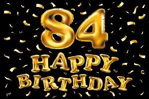 happy birthday 84 balloons gold