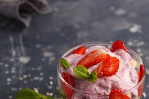 Strawberry dessert. Berry trifle