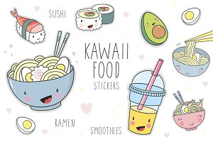Kawaii cartoon food stickers