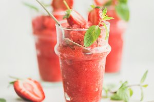 Strawberry and champaigne summer granita in glasses, square crop
