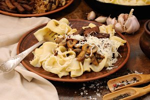 Pasta fettuccine with mushrooms