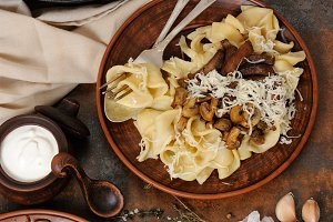 Pasta fettuccine with mushrooms
