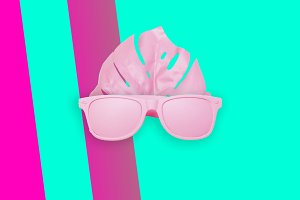 art collage of pink glasses