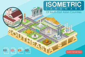 Isometric Landmark of Southeast Asia