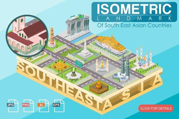 Isometric Landmark Of Southeast Asia