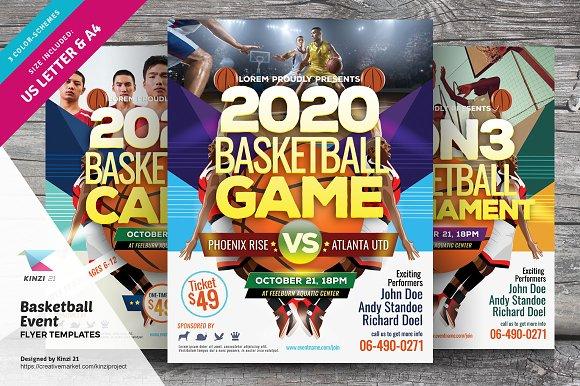 Basketball Event Flyer Templates Flyer Templates Creative Market