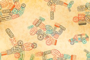 Immigration stamps pattern
