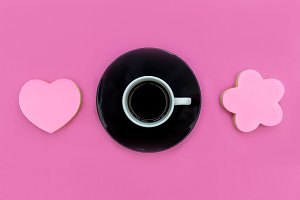 Coffee cup saucer on pink love heart