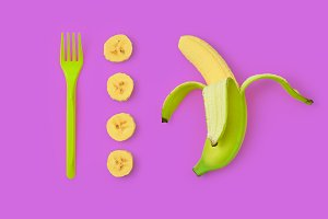 Banana Fresh Fruit. Vegan Food