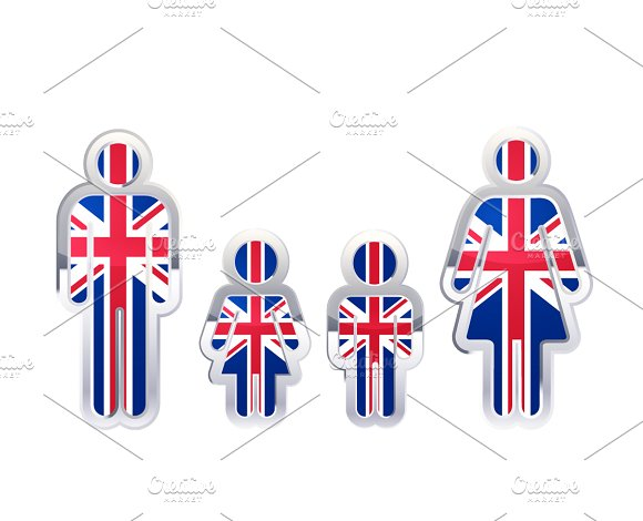 People Icon With United Kingdom Flag