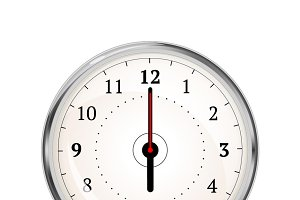 Realistic clock face showing 06-00