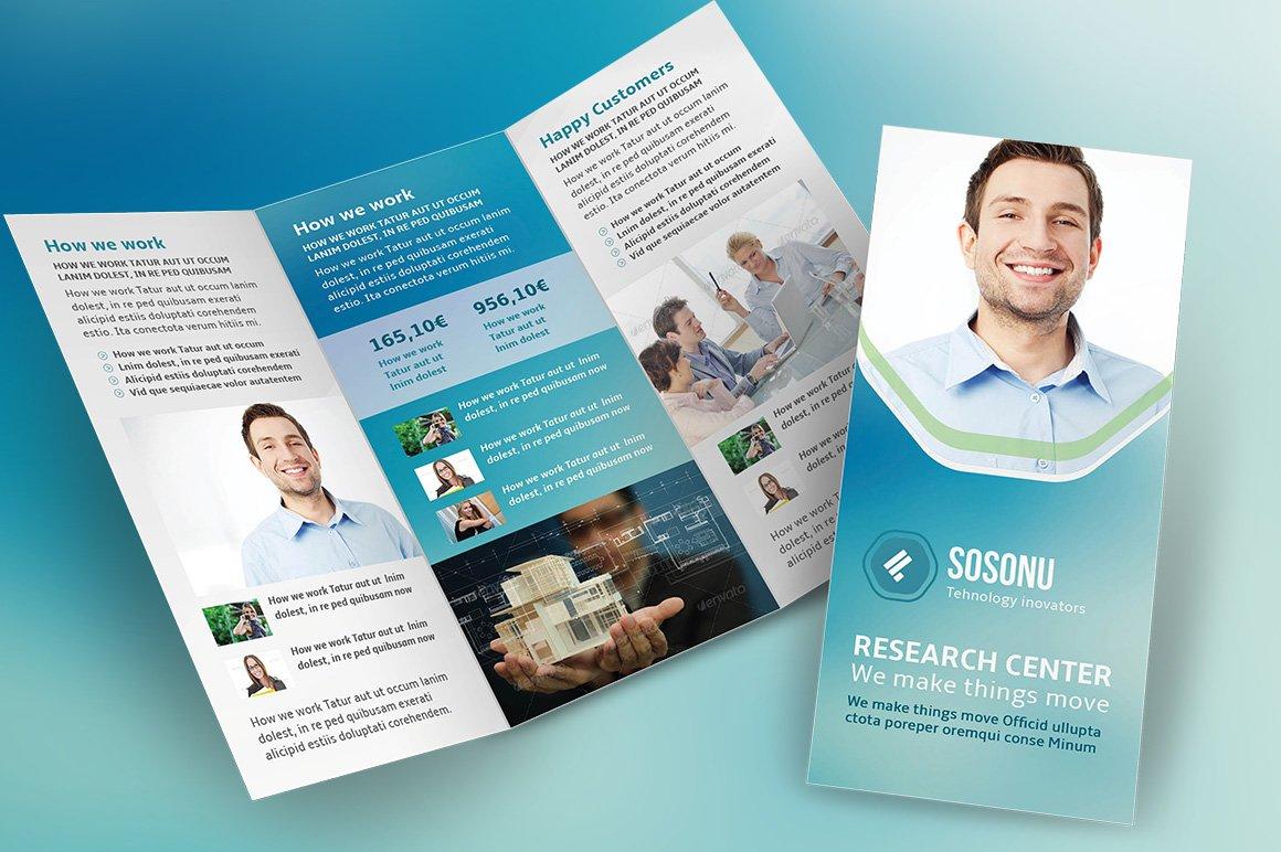 clean business trifold brochure brochure templates creative market